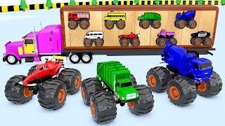 Learning Colors for Children with Monster Street Vehicles Wooden Truck Transport Vehicle for Kids