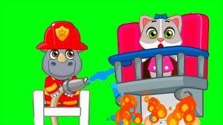 Пожарный Патруль НОСОРОГ и СЛОН: Пожарная Машина и Вертолет спасают зверей
