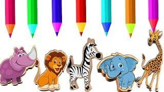 Learn Animals Crayons Name and Sound Learning Animals Colors Cartoon for Children Educational Video