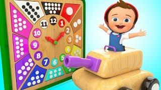 Learning Numbers Colors for Children with Baby Fun Play Wooden Clock Toy Tanker 3D Kids Educational
