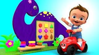 Learning Shapes & Colors with Little Baby Dinosaur Wooden Frame Kids Toddler Learning Videos
