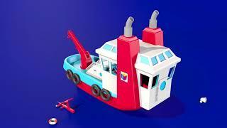 Развивающие мультики для детей от 3 лет. Конструктор: собираем корабль буксир. Выпуск 5.