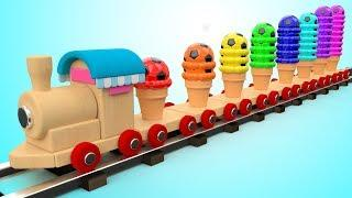 Learning Colors for Children with Color Scoop Ice Creams Wooden Toy Train Transport Kids Toddler Edu
