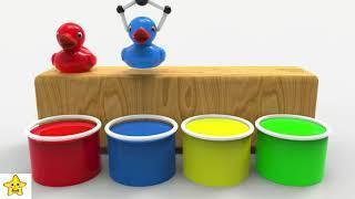 Учим цвета вместе с уточками. Цветные уточки раскраски для детей. Обучающее видео.