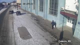 Авария в Бердичеве. БМВ таранит арку Лонского 6 февраля 2018 года