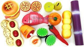 Fun Learning Names of Food,Fruit and Vegetables with Wooden Toys Cutting Food Education videos
