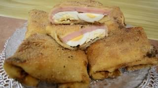 Блинчики с ветчиной, яйцами и сыром/Pancakes with ham, eggs and cheese