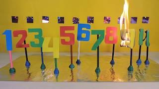 Numbers burning in the flame Unusual countdown from 10 to 1 Learning numbers with kids