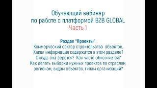 """Обучение работе с B2B GLOBAL - раздел """"Проекты"""""""